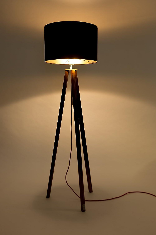 Home Lighting Tripod Stehleuchte Anthrazit Schwarz Nussbaum Stativ