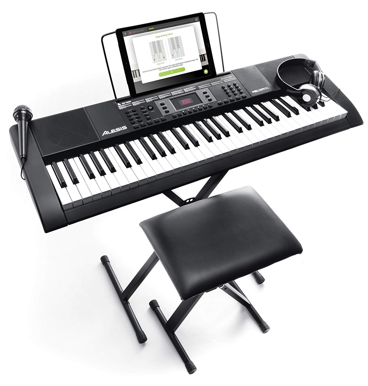 Alesis 電子キーボード 61鍵盤 初心者セット【ヘッドホン、マイク、スタンド、ベンチ、ACアダプター付き】 Melody61 MKII