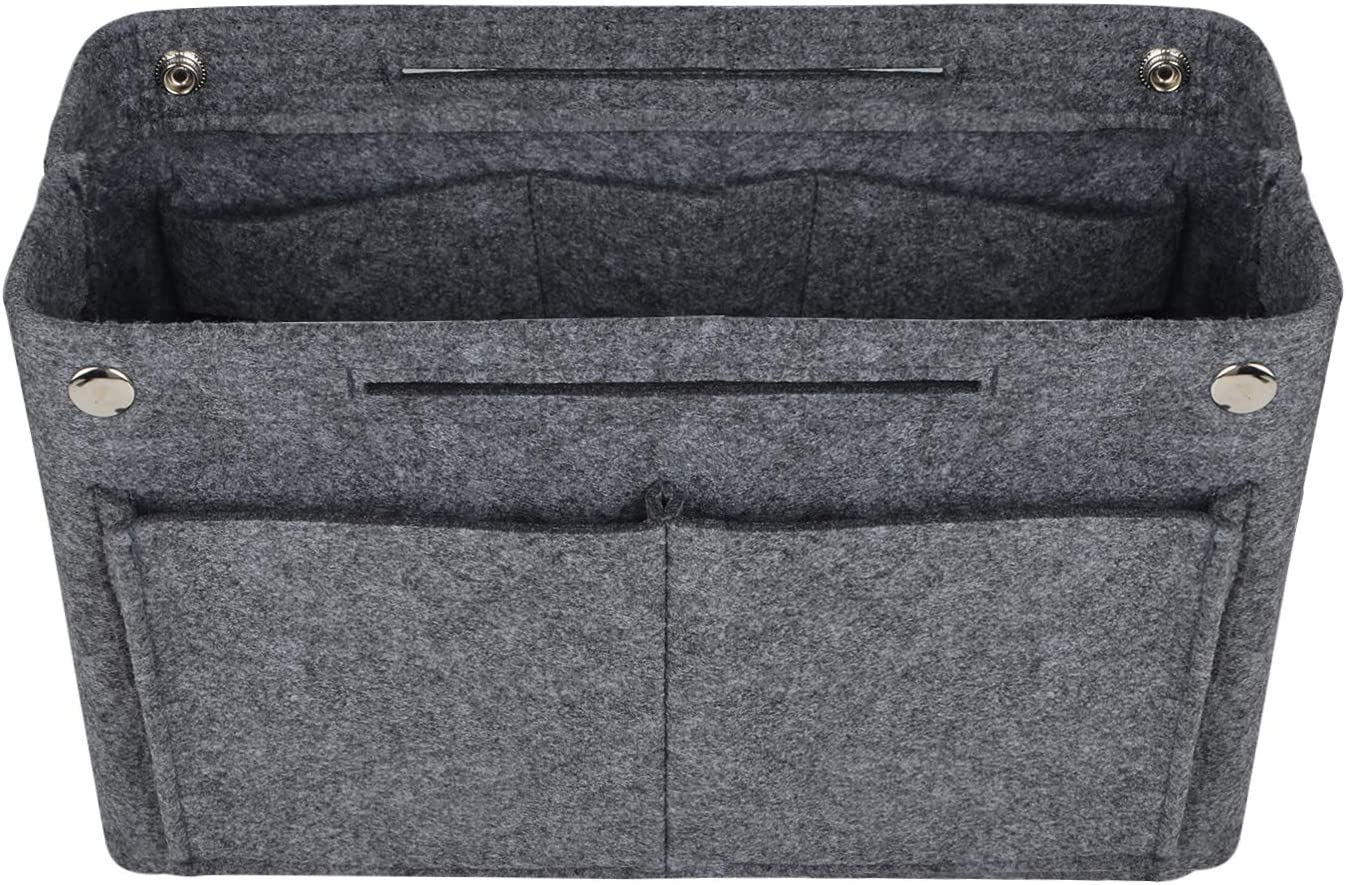 2 Size Felt Fabric Handbag Organizer Bag Purse Multi-Pocket Insert Bag Grey New