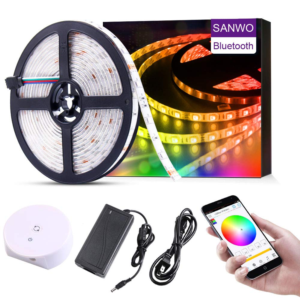 Led Strip Light, 16.4ft/5m RGB 150Leds SMD5050 App Rope Light with 12V Power Supply, Bluetooth Controller and String Light Fixing Clips, Color Changing Music Light Strip for Home Kitchen