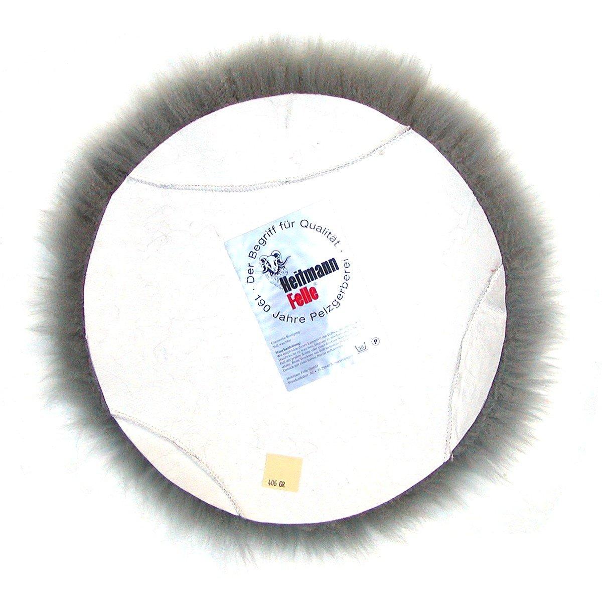 Heitmann Runde Sitzauflage aus australischen Lammfellen 45 cm Fellkissen grau Haarl/änge ca /Ø ca waschbar 70 mm