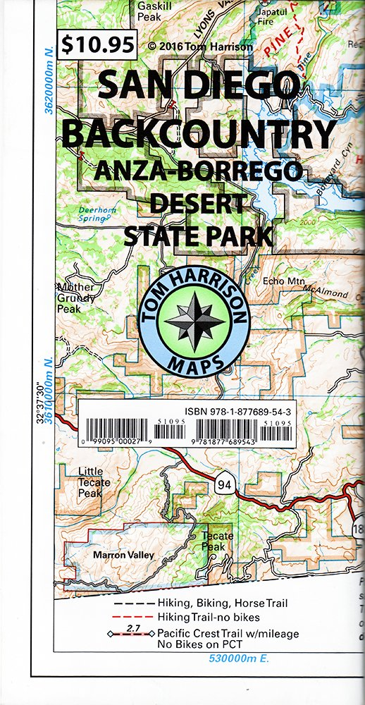 Recreation Map Of The San Diego Backcountry Waterproof Synthetic
