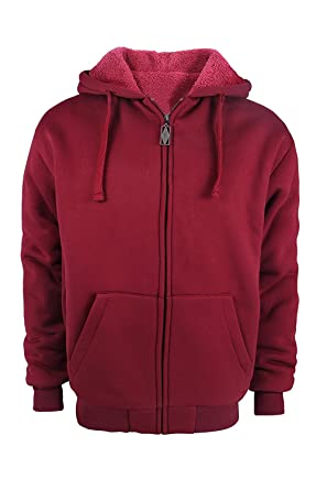 b9d9a3e11d3 Image Unavailable. Image not available for. Color  TanBridge Heavyweight  Sherpa Lined Plus Sizes Warm Fleece Full Zip Mens Hoodie with Padded Sleeve