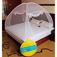 Verdioz With Device White Embroidery Poly Cotton Foldable Mosquito Net (Double Bed) With 3 Saviours - Pink