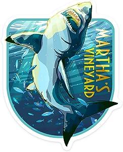 Lantern Press Martha's Vineyard, Massachusetts - Stylized Great White Shark - Contour 95877 (Vinyl Die-Cut Sticker, Indoor/Outdoor, Small)
