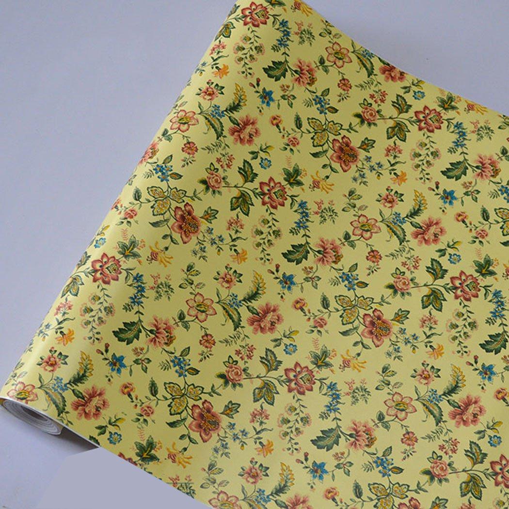 Autocollant en vinyle vintage floral Contact papier é tagè re Doublure de tiroir Armoires Commode Autocollant (Jaune, 45 x 199,9 cm) 45x 199 9cm) MagicValley GL001