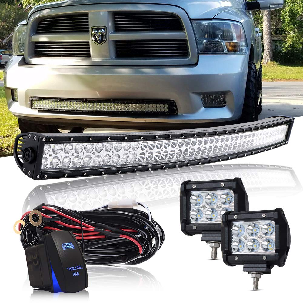 DOT 50' Inch 288W Curved Led Light Bar Combo + 4Inch Offroad Led Fog Light + 1x Remote Switch + 1x Wiring Harness Kit for Trailer Boat SUV ATV Truck Jeep Wrangler Dodge Chevy RV Ford F150 F250 Tractor OSRAM CHIPS 10V~30V QUAKEWORLD