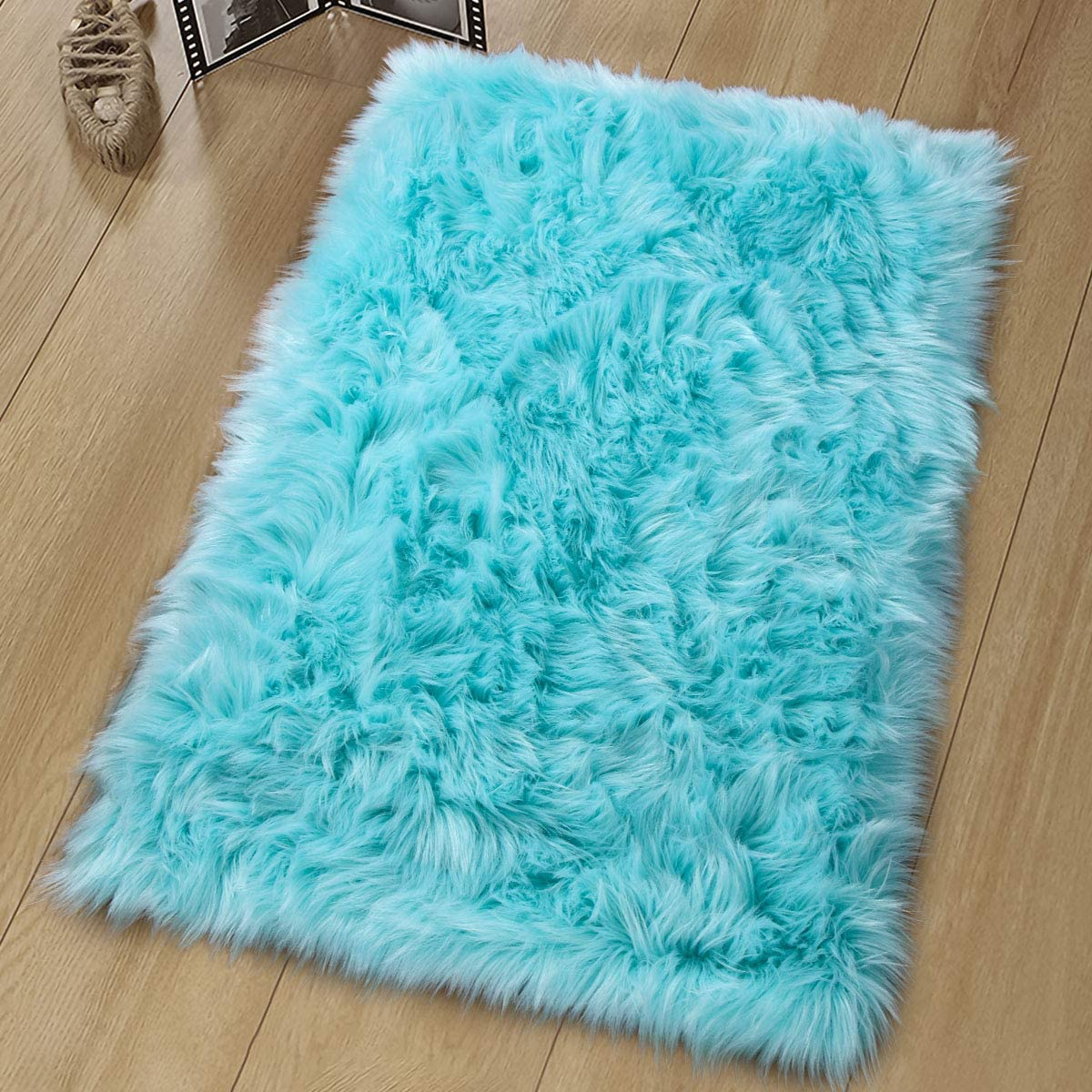 Noahas Luxury Fluffy Rugs Bedroom Furry Carpet Bedside Faux Fur Sheepskin Area Rugs Children Play Princess Room Decor Rug, 2ft x 3ft, Light Blue