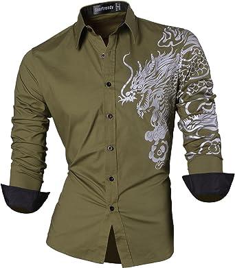 Sportrendy Herren Freizeit Hemden Slim Button Down Long Sleeves Dress  Shirts Tops MFN2_JZS041 (USA S
