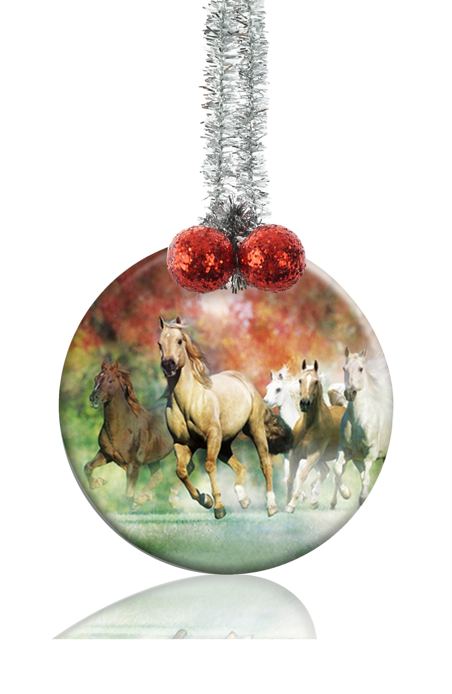 GDEE Custom Animal Pattern Horse Personalized Round Porcelain Ornaments Christmas Ornaments Home Decoration by GDEE