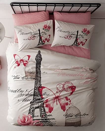 100% Turkish Cotton 4 Pcs!! Ranforce Paris Eiffel Tower Theme Themed Full  Double