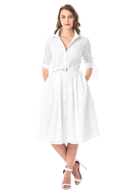 1950s Dresses, 50s Dresses | Swing, Wiggle, Pin Up Dresses eShakti Womens Tie Cuffs Cotton Eyelet Belted shirtdress $64.95 AT vintagedancer.com