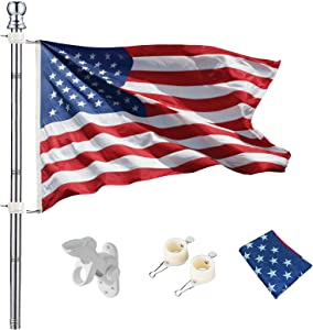 hogardeck 6 FT Flag Pole Kit with Holder and 3x5ft US Flag, Tangle Free Spinning Weather Resistant Rustproof Stainless Steel FlagpoleSuitable for 3x5 Heavy Garden Flag 1
