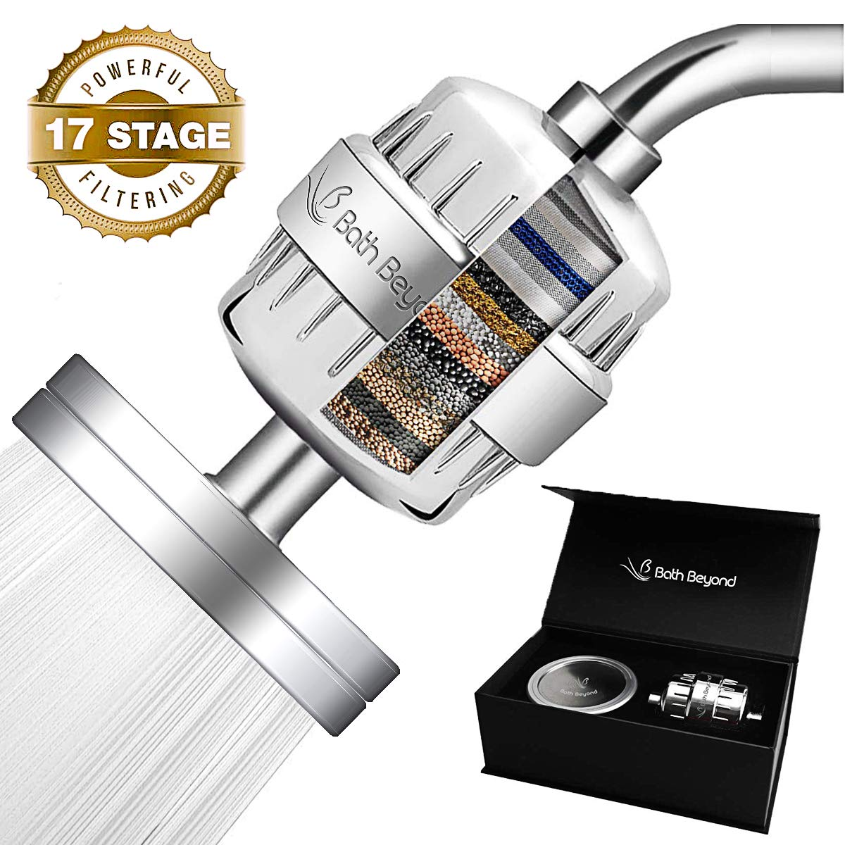 BathBeyond Filtered Shower Head Set 17 Stage Vitamin C Shower Filter For Hard Water Removes Chlorine Fluoride and Improves The Condition of Your Skin, Hair-High Output Water Filter With cartridge