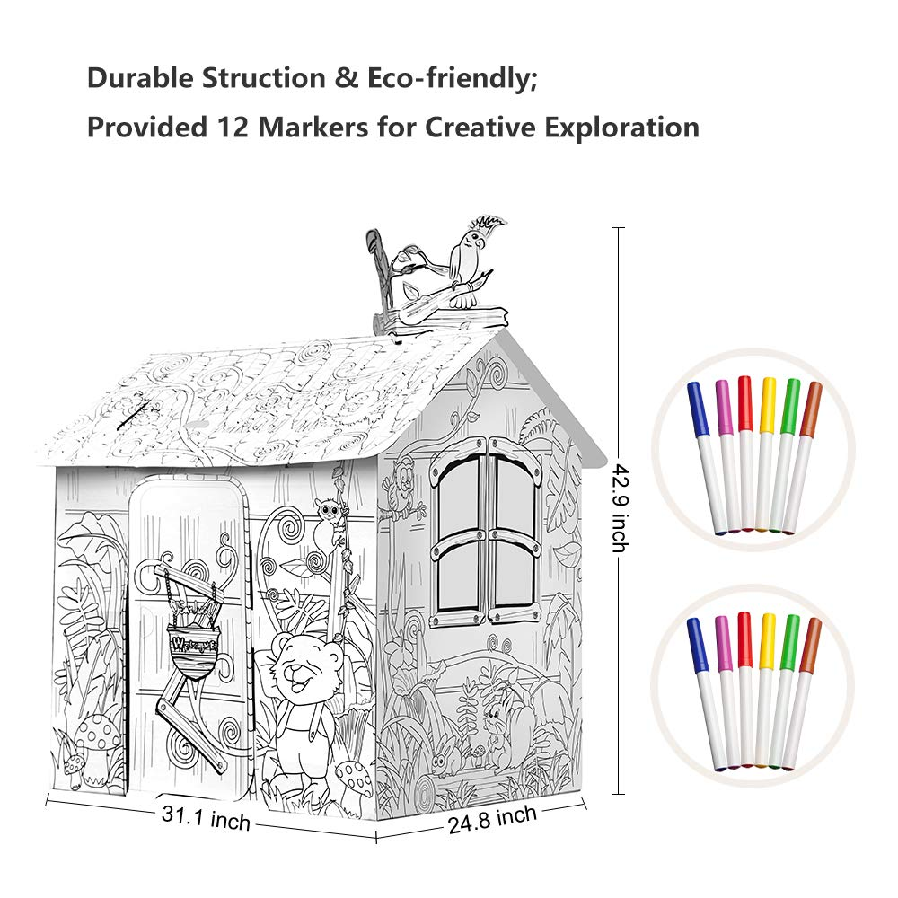 JOYOOC Cardboard Playhouse, Children DIY Color Playhouse Role Playing Game Cottage Playhouse Indoor Pretend Play Paper House with Included 12 Makers & Sturdy Construction, 42.9'' H x 31.1'' W x 24.8'' L by JOYOOC (Image #7)