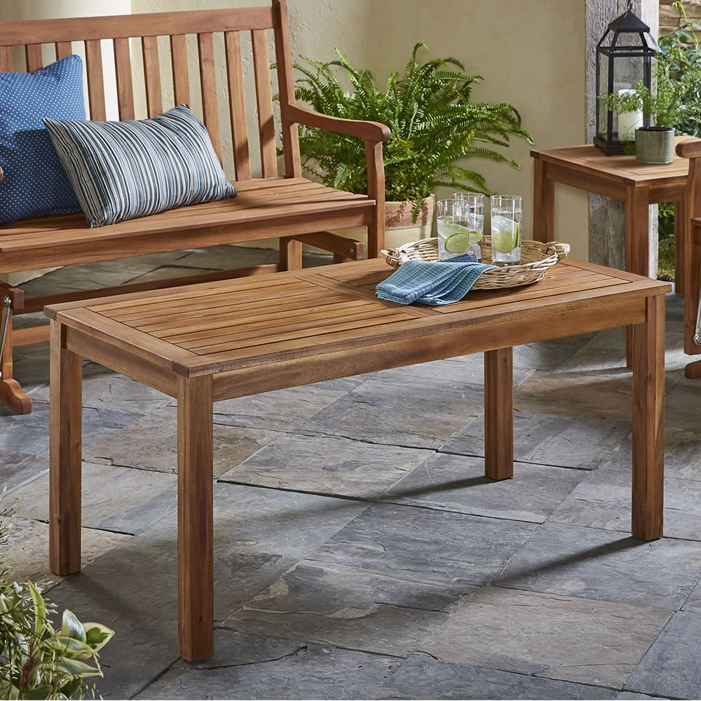Hammacher Schlemmer The Classic Acacia Coffee Table
