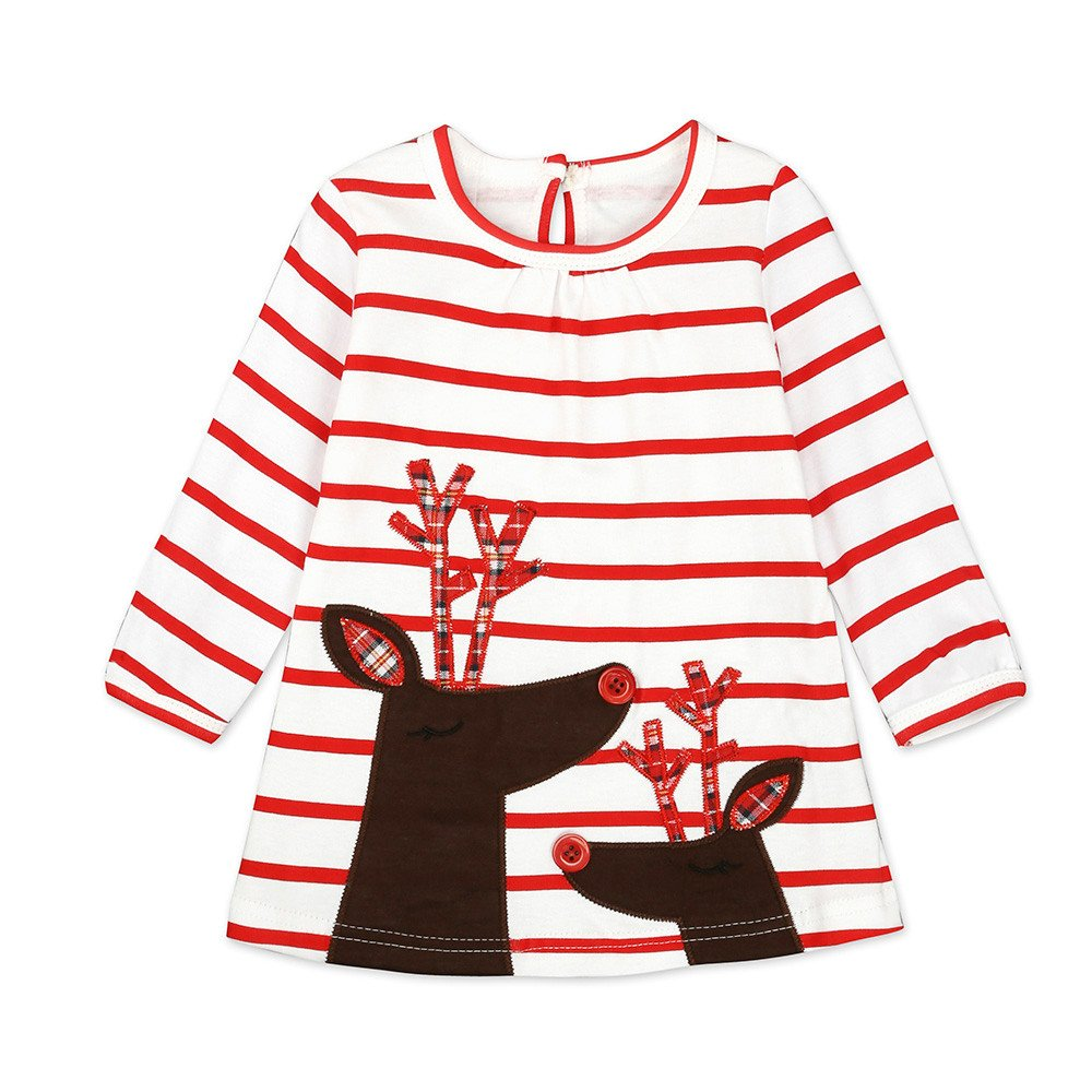 Fartido Toddler Kids Baby Girls Deer Striped Princess Dress Christmas Outfits Clothes WQAQ16