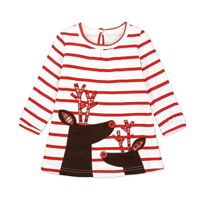 Fossen 1-6 años Niña Disfraz Navidad Vestidos de Reno y Papá Noel Estampado