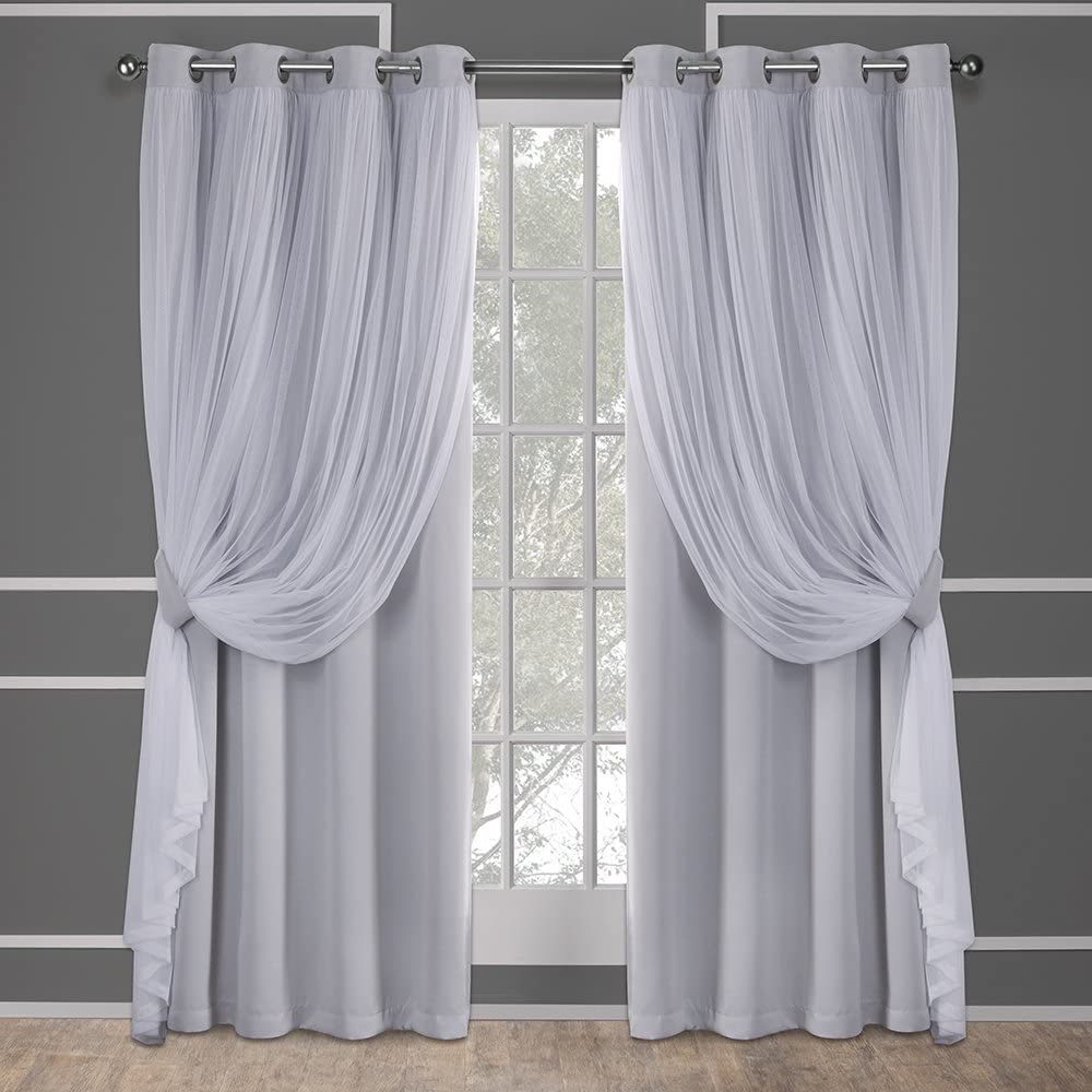 Exclusive Home Curtains Catarina Layered Solid Blackout and Sheer Window Curtain Panel Pair with Grommet Top, 52x108, Cloud Grey, 2 Piece