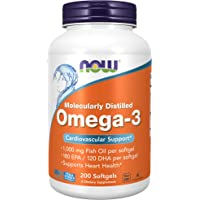 Now Foods Omega-3 Molecularly Distilled, 1000 mg 200 Softgels