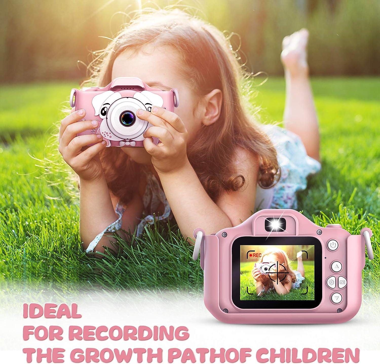 Estuche de Transporte Bater/ía Recargable 1200 mAh,2 Pulgadas Rosa C/ámara para Ni/ños 12MP Selfie C/ámara Digital 1080P HD Video C/ámara Infantil 32GB TF Tarjeta Regalos Juguete