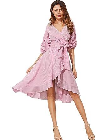 33aeaea45393 Milumia Women s V-Neck Striped Pinstripe Flounce Dip High Low Hem Split  Wrap Dress Pink