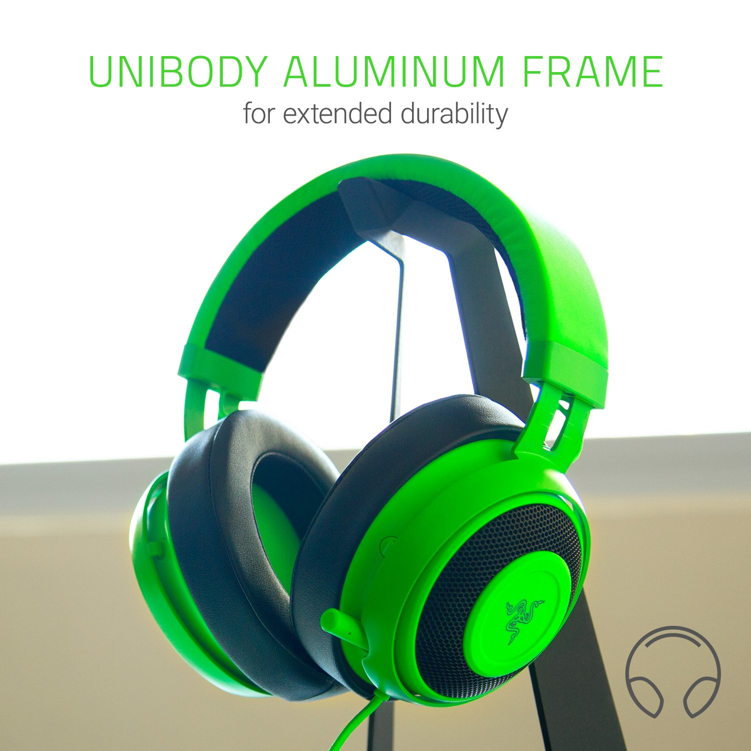 Razer Kraken Pro V2: Lightweight Aluminum Headband - Retractable Mic - In-Line Remote - Gaming Headset Works with PC, PS4, Xbox One, Switch, & Mobile Devices - Green by Razer (Image #3)