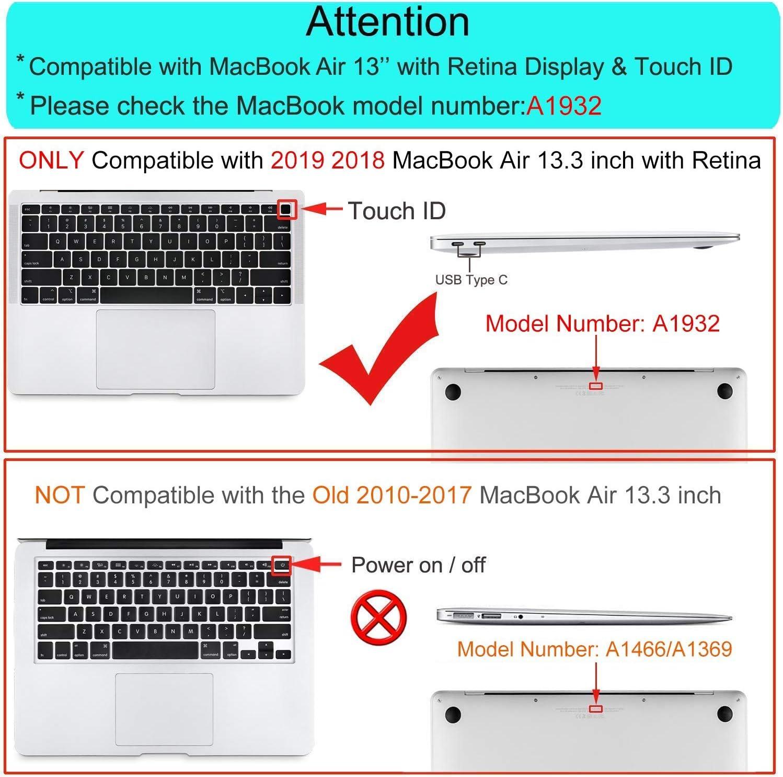 MOSISO H/ülle Kompatibel mit MacBook Air 13 2019 2018 Freisetzung A1932 Retina Plastik H/ülle /& Aktentasche /& Tastaturschutz /& Displayschutz /&Webcam Cover Kompatibel mit Mac Air 13 Schwarz Pfingstrose