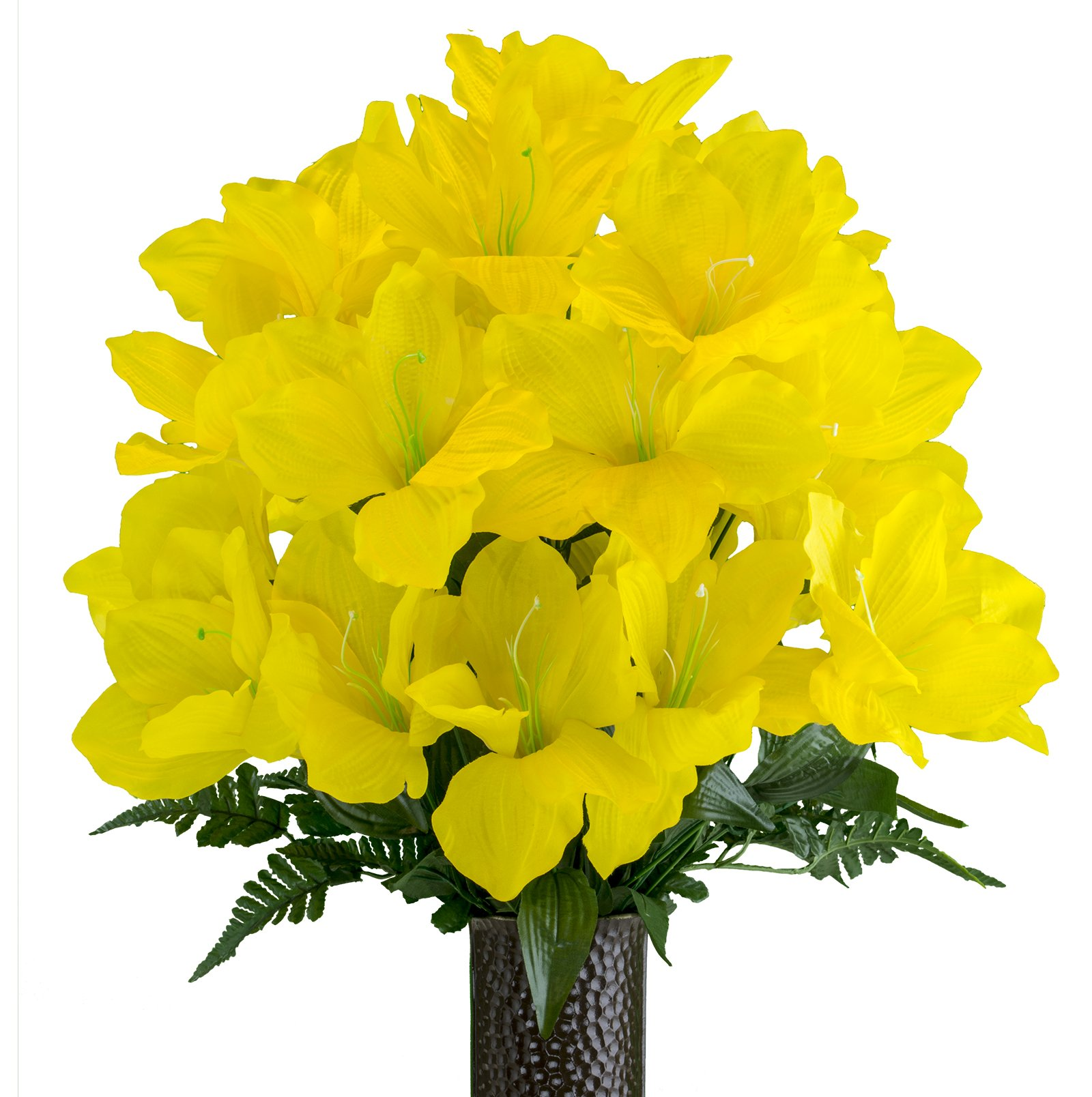 Yellow-Amaryllis-Artificial-Bouquet-featuring-the-Stay-In-The-Vase-Designc-Flower-Holder-MD2083