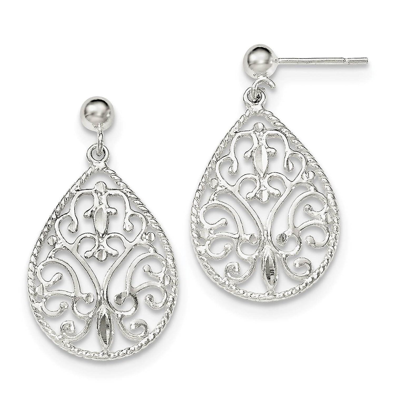 925 Sterling Silver Filigree Teardrop Dangle Post Earrings
