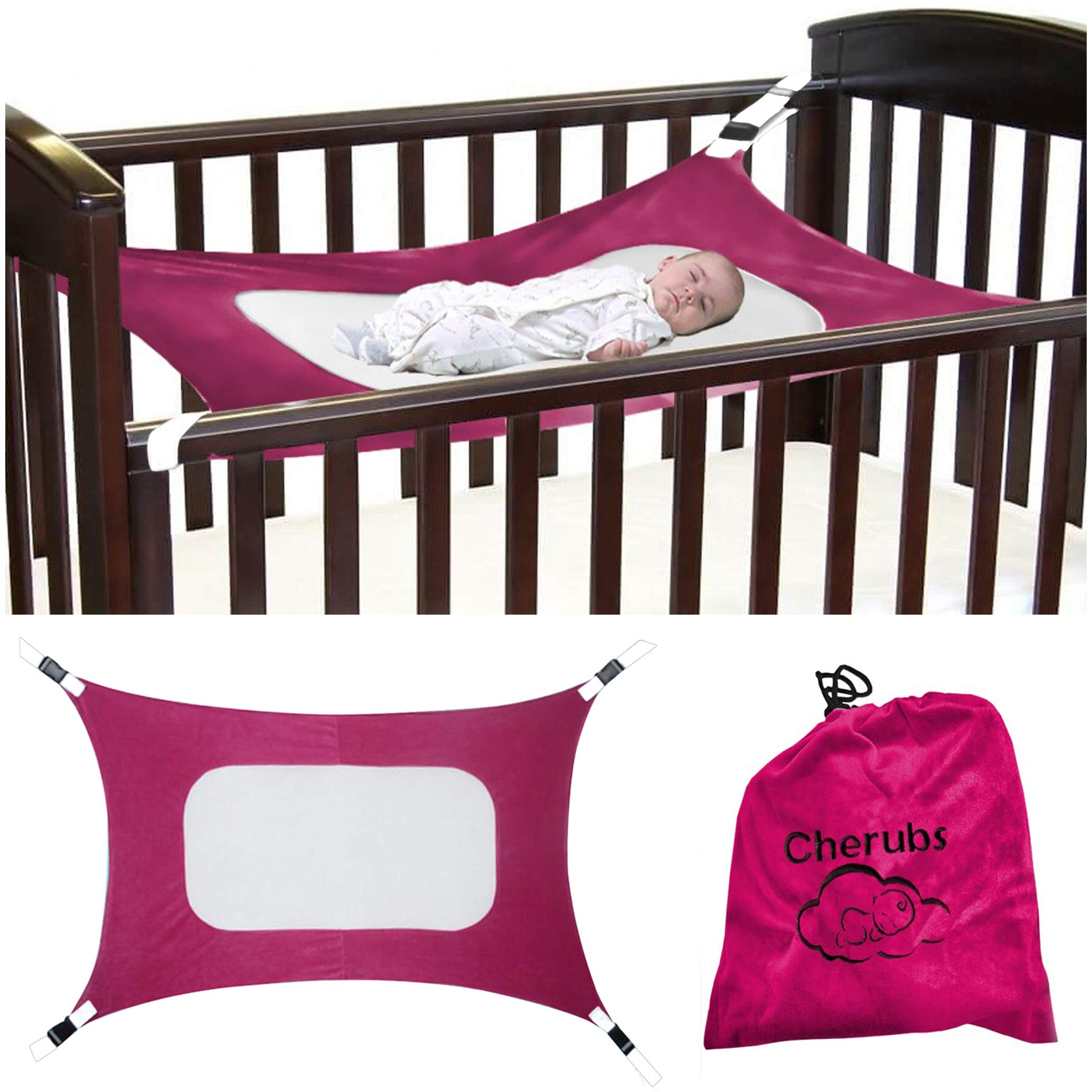 Baby Hammock for Crib, Soft and Comfortable Material with Strong Adjustable Straps, Mimics The Womb, Upgraded Safety Measures, Newborn Hammock by Cherubs (Pink)