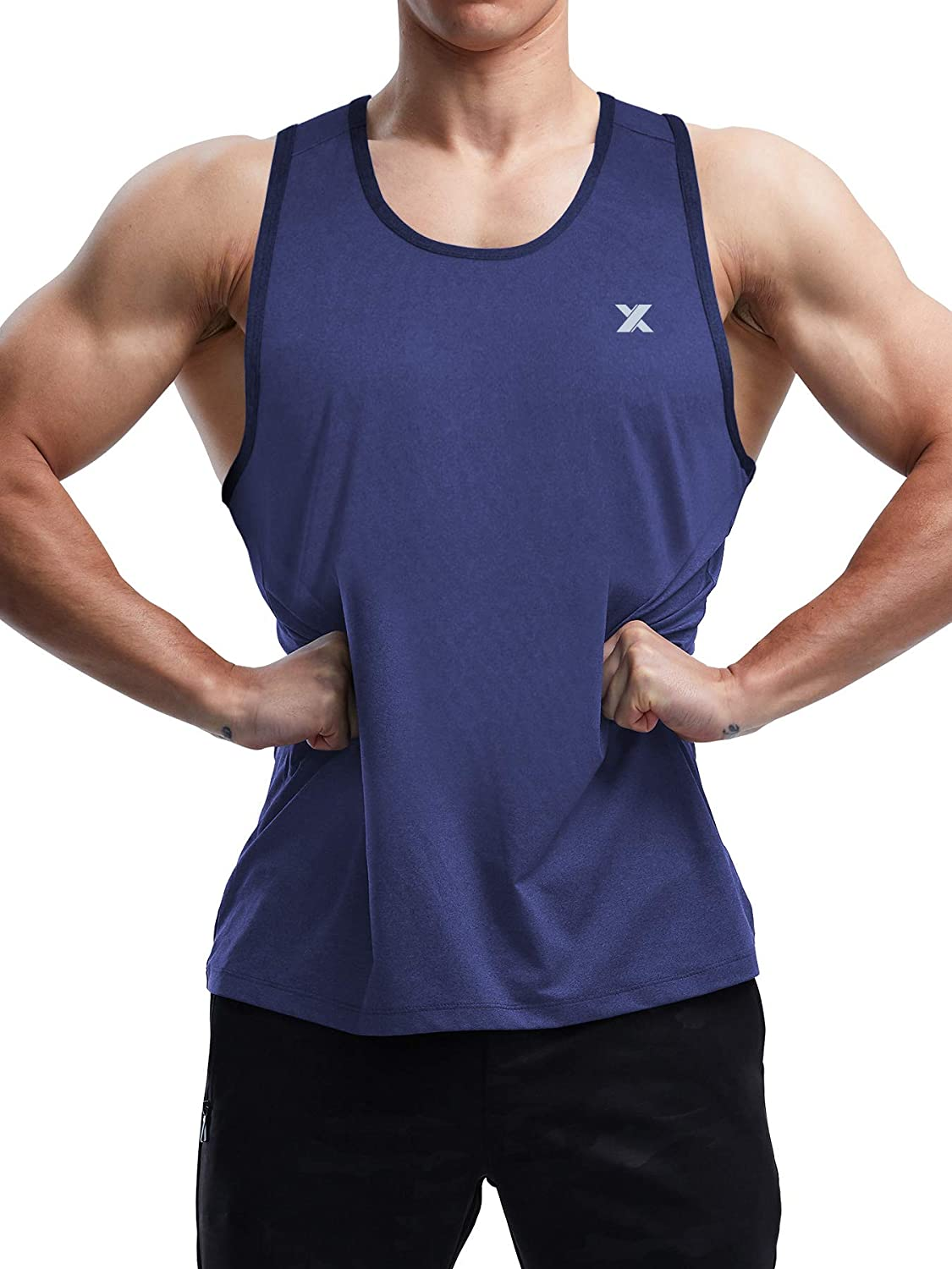 Xtansuo Mens Quick Dry Workout Muscle Tank Top Sleeveless Sport T Shirt for Gym Fitness Bodybuilding Athletic Training