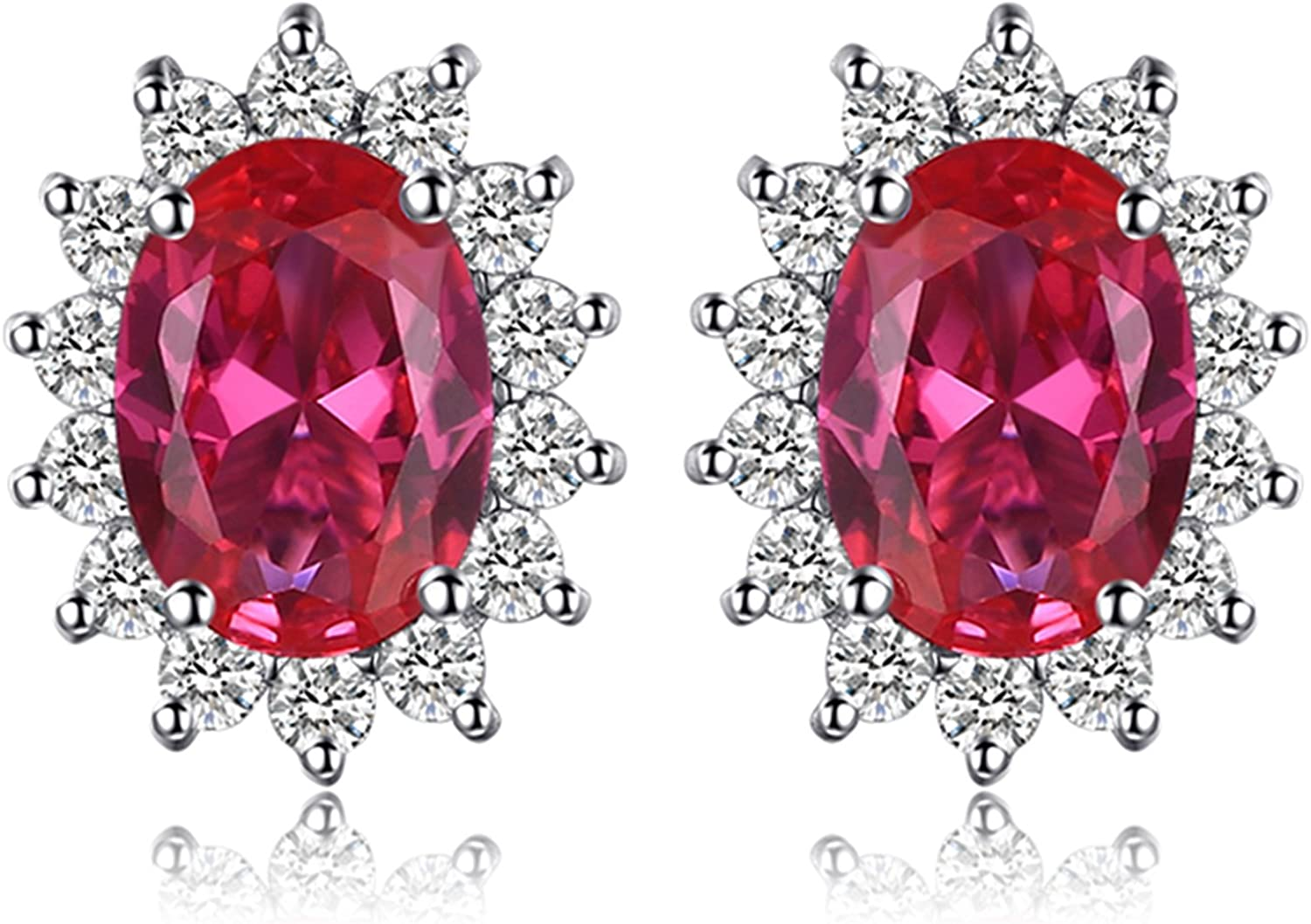 JewelryPalace Pendientes Princesa Diana William Kate Middleton Vintage Halo Piedra Preciosa Aretes Plata de ley 925