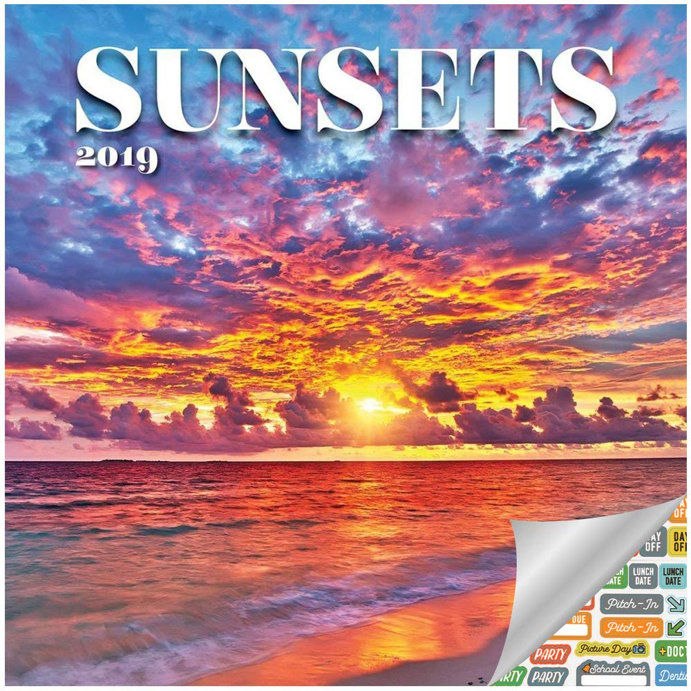 Sundown Calendar 2019 Amazon.: Sunset Calendar 2019 Set   Deluxe 2019 Sunsets Wall