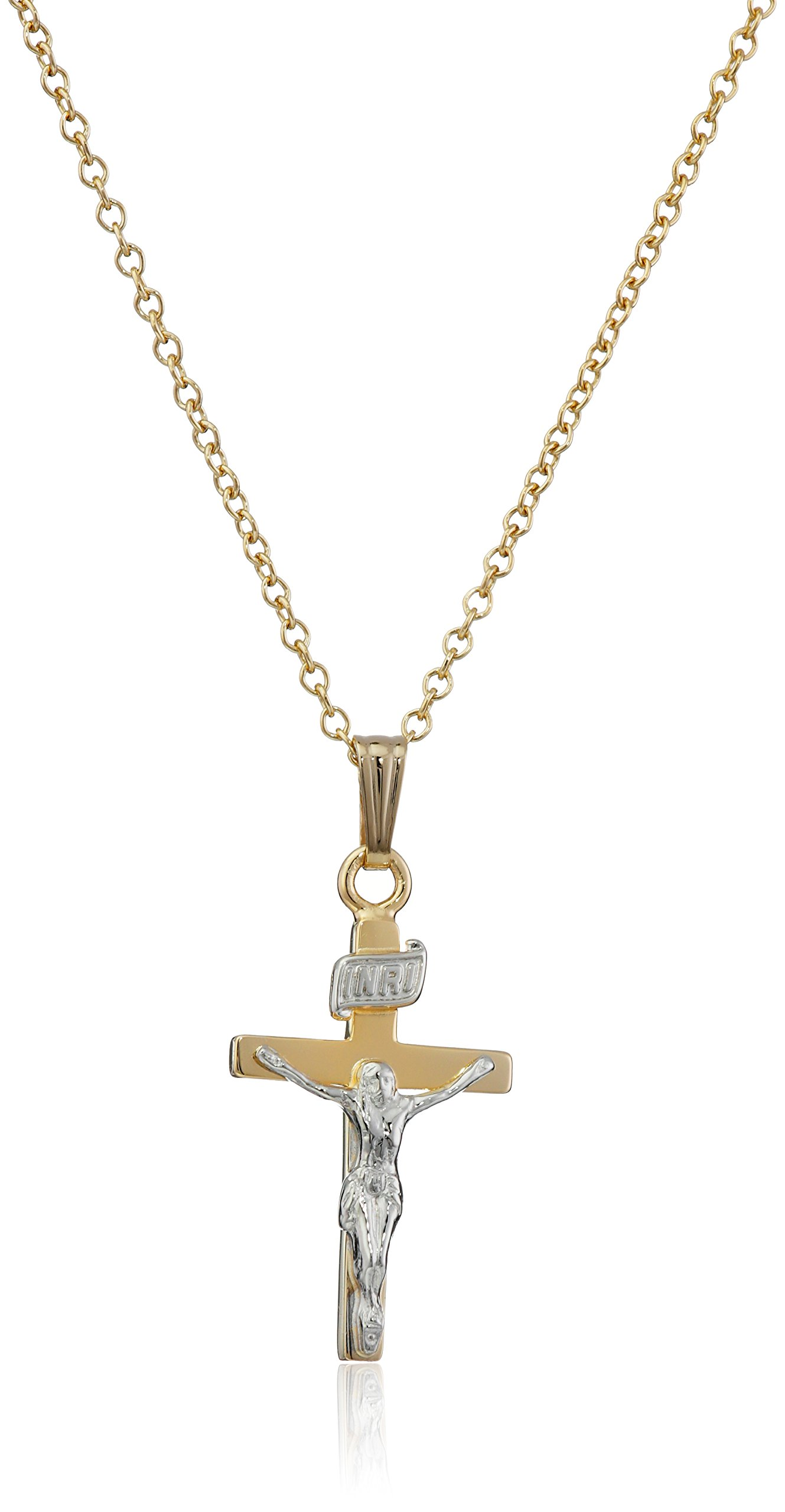 Children's 14k Gold-Filled Two-Tone Crucifix Cross Pendant Necklace, 15'' by Dear to Me (Image #1)