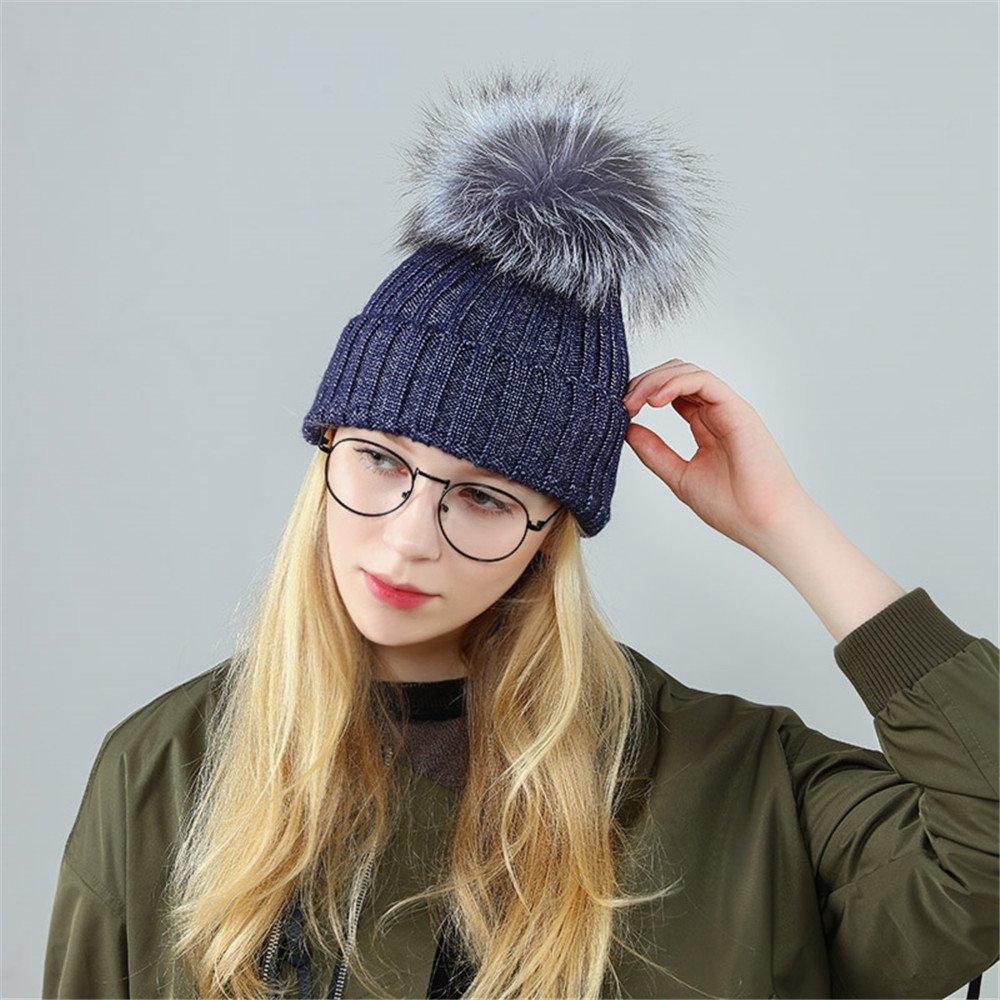 レディース帽子子供冬ニットキャップヘアボールキャップThickeningキャップ学生 Elastic 9822752517558 Elastic Hair Ball 1 Blue Hat B077BQWVS1