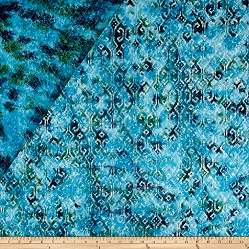 Textile Creations Double Face Quilted Indian Batik Small Ikat Fabric by The Yard Teal
