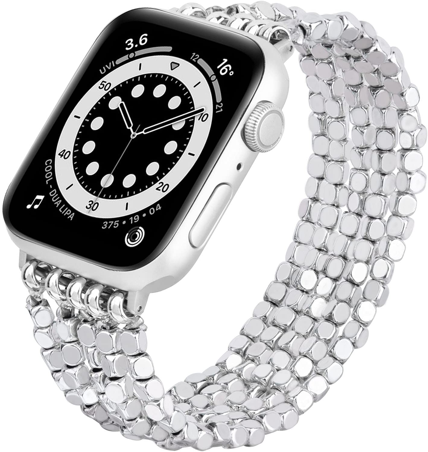 MOFREE Bracelet Compatible for Series 6 Apple Watch Band 44mm/42mm Series SE 5 Women Fashion Handmade Elastic Stretch Beads Strap for iWatch Series 4/3/2/1 42mm/44mm Replacement Silver
