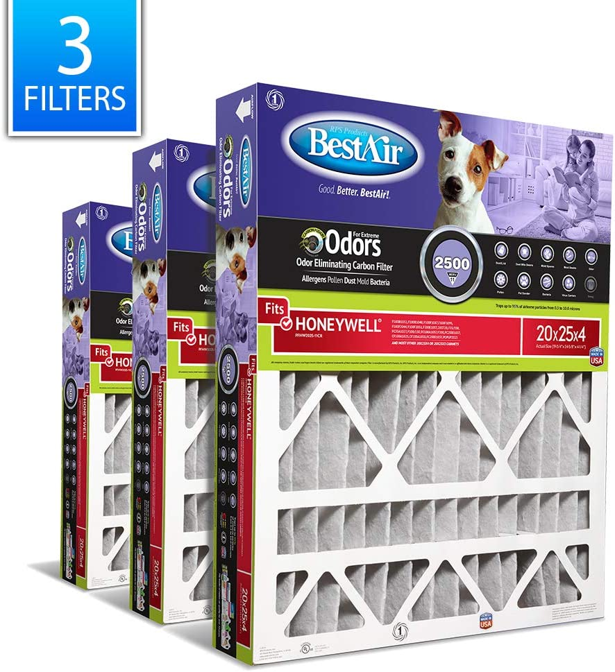 "BestAir PFHW2025-11CR AC Furnace Air Filter, 20"" x 25"" x 4"", MERV 11, Removes Allergens & Contaminants, Carbon Infused to Eliminate Odor, Fits 100%, For Honeywell Models, Pack of 3"