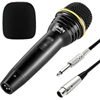 Moukey MWm-2 Dynamic Karaoke Microphone Metal Handheld For Karaoke with 16.40 ft XLR Cable