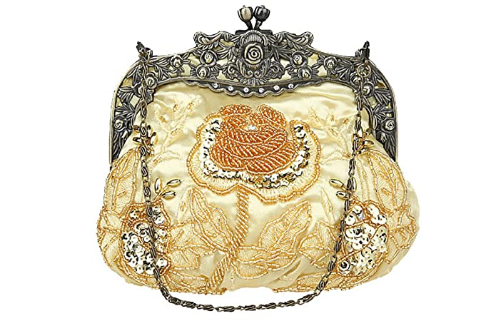1920s Accessories | Great Gatsby Accessories Guide Antique Beaded Party Clutch Vintage Rose Purse Evening Handbag $24.99 AT vintagedancer.com