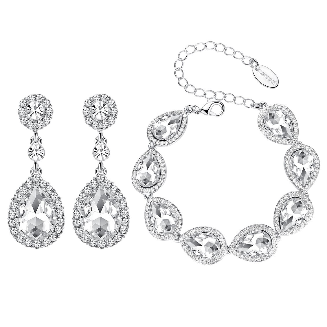 mecresh Flower Teardrop Clear Austrian Crystal Jewelry Sets for Women or Bridesmaids(1 Set Earring,1PCS Bracelet)