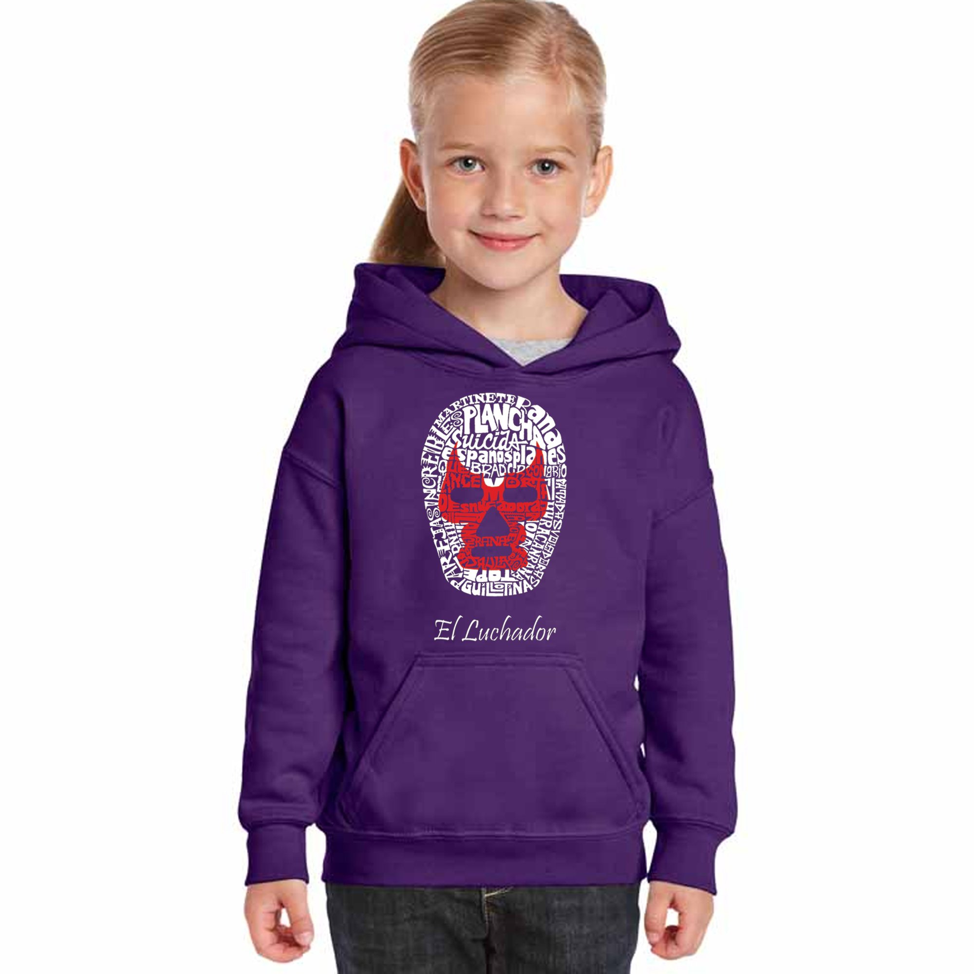 LA Pop Art Girl's Word Art Hooded Sweatshirt - Mexican Wrestling Mask