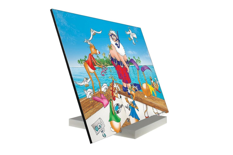 Soporte Fotografias Dibujos Animados Santa en vacaciones Pared Letrero: Amazon.es: Hogar
