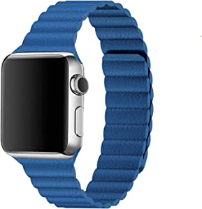Inno-Huntz Leather Band Compatible with Apple Watch Band 42mm 44mm Replacement 2 Straps for Watch Series 4 3 2 1 Strong Magnetic Closure Wristband for Men Women Blue