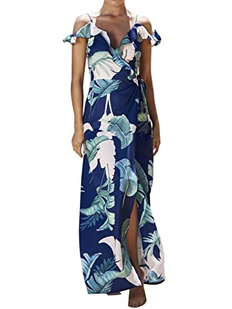 58498cff101 Simplee Apparel Women s Strap Ruffle Cold Shoulder Floral Print Wrap Maxi  Dress Beach