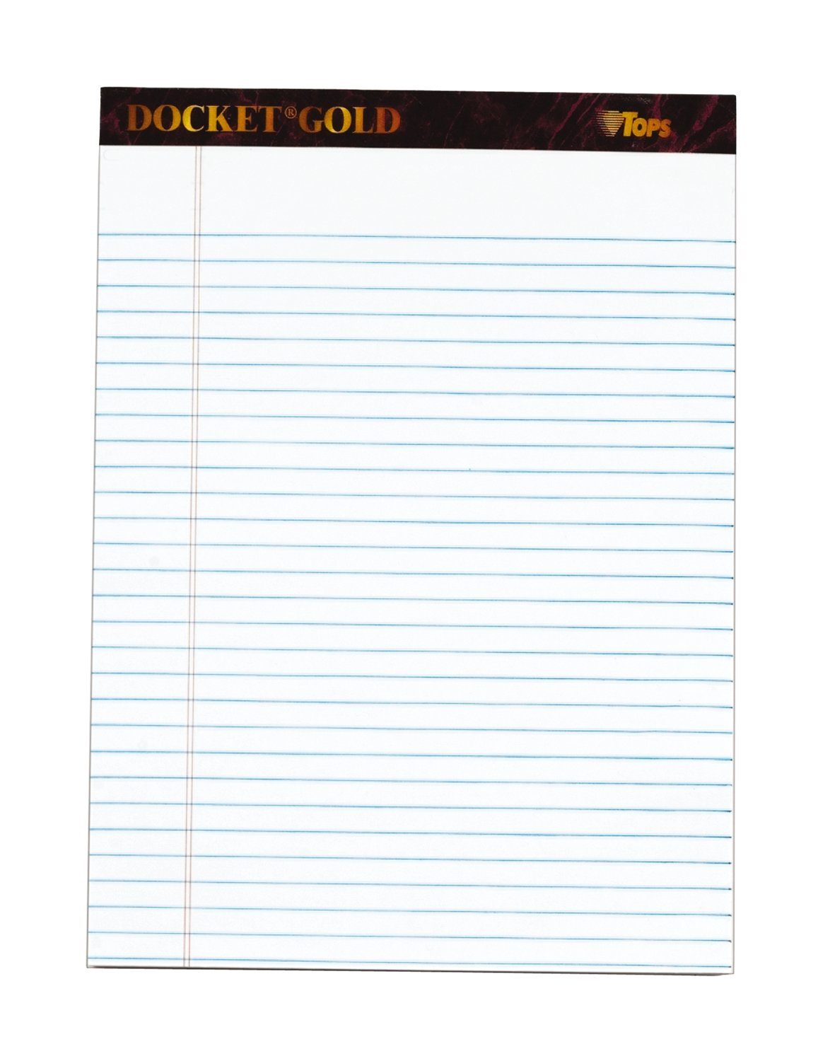 TOPS Docket Gold Writing Tablet, 8-1/2 x 11-3/4 Inches, Perforated, White, Legal/Wide Rule, 50 Sheets per Pad, 3 Pads per Pack (63963) by TOPS