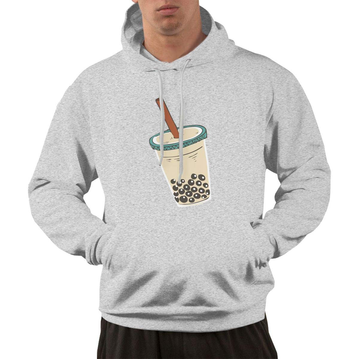 Hateone Mens 3D Print Hoodies Bubble Tea Drink Art Casual Sweatshirt with Pocket