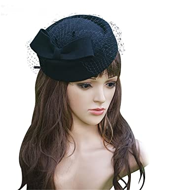 Winter Fedoras Pillbox Hats Vintage Wool Felt Women Fascinator Hat ... 80cf8b63c9f