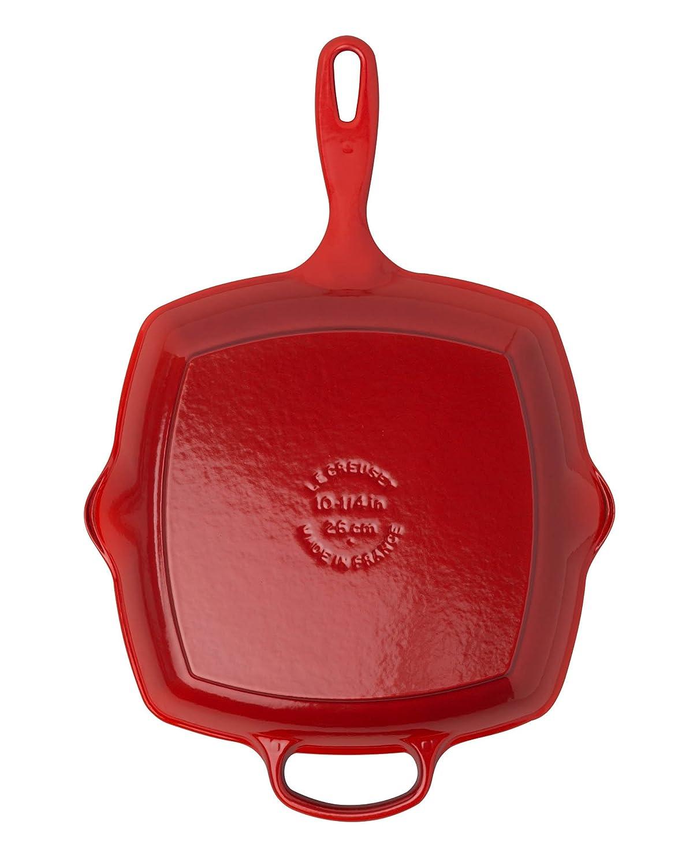 10 1//4 Le Creuset Cast Iron Signature Square Skillet Grill Black